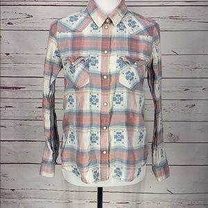 American Eagle vtg boyfriend plaid Western Shirt